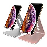 OMOTON[2 Pack] Cell Phone Stand, Desktop Cellphone Stand Tablet Stand, Advanced 4mm Thickness Aluminum Stand Holder for Mobile Phone and Tablet (Up to 10.1 inch), Rose Gold & Silver