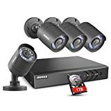 ANNKE 8 Channel Security Camera System 5-in-1 1080P lite H.264+ DVR with 1TB Surveillance Hard Disk Drive and (4) 1080P 2.0MP Weatherproof HD-TVI Bullet Cameras, Instant email alert with images