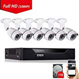 Tonton 8CH Full HD 1080P Security Camera System, Surveillance DVR with 1TB Hard Drive and (6) 2.0MP 1920TVL Waterproof Outdoor Indoor CCTV Bullet Camera with Face Notification and Clear Night Vision