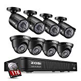 ZOSI 8-Channel HD-TVI 1080P Lite Video Security Camera System,4 in 1 CCTV DVR Recorder and (8) 1.0MP Indoor/Outdoor Day/Night Weatherproof Surveillance Cameras (1TB Hard Drive Built-in)